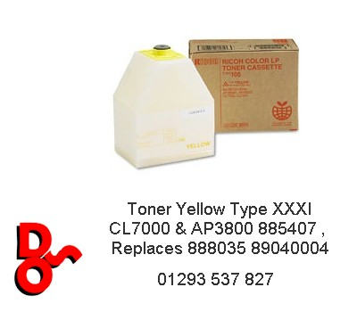 Toner Yellow Type XXXI CL7000 & AP3800 885407