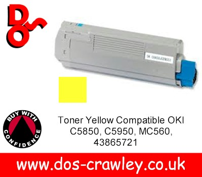 Toner Yellow Compatible OKI C5850, C5950, MC560, 43865721