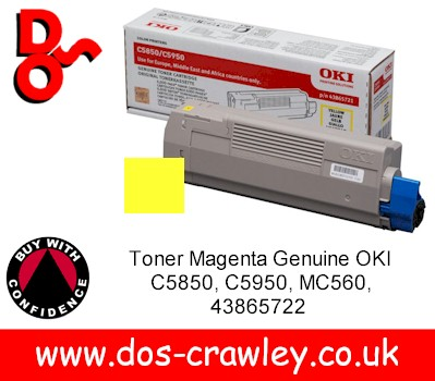 Toner Yellow Genuine OKI C5850, C5950, MC560, 43865721