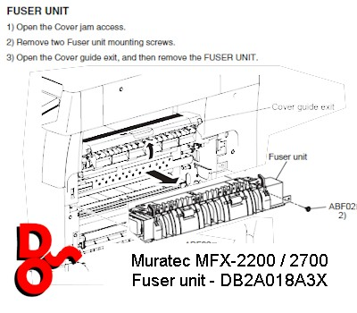 Fuser Unit DB2A018A 220v for Muratec MFX 2200, 2225, 2700, 2725