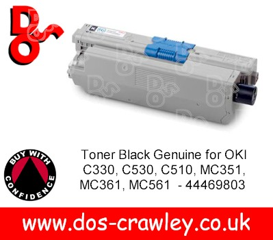 Toner Black Genuine for OKI C310, 510, 351, 561 - 44469803