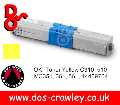 Toner Yellow Genuine OKI C310, 510, 351, 361, 561 - 44469704