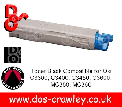 Toner Black Compatible for Oki C3300, C3400, C3450, C3600, MC350
