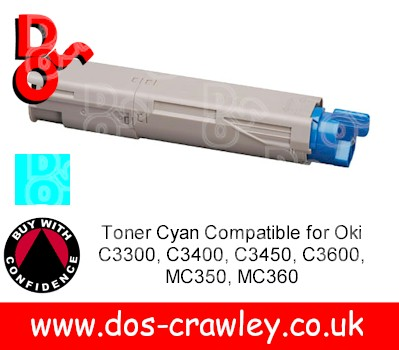 Toner Cyan Compatible for Oki C3300, C3400, C3450, C3600, MC350