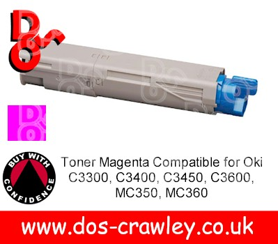 Toner Magenta Compatible for Oki C3300, C3400, C3450, C3600, MC3