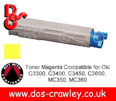 Toner Yellow Compatible for Oki C3300, C3400, C3450, C3600, MC35