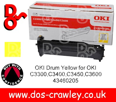 Drum Yellow Genuine for OKI C3300,C3400,C3450,C3600 - 43460205