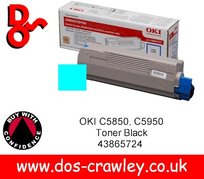 Toner Cyan Genuine OKI C5850, C5950, MC560, 43865723