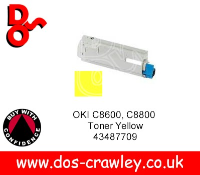 Toner Yellow Compatible, OKI C8600, C8800, MS40144, 43487709